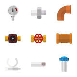 Flat Icon Plumbing Set Of Water Filter, Connector, Pipe And Other Vector Objects. Also Includes Holder, Filter, Plumbing Elements. - 163344950