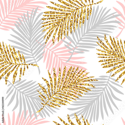 Tropical seamless pattern with monstera and palm leaves and golden glitter texture. Vector illustration - 163344999