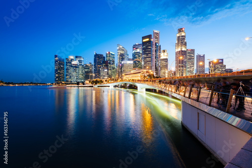 Plagát Singapore skyline at night