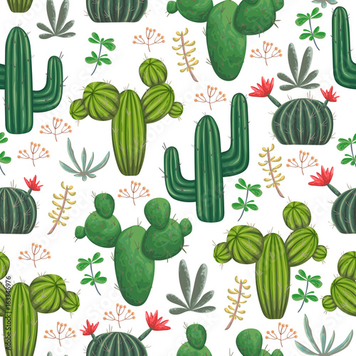 Seamless pattern with, cacti, succulents and floral elements. Vintage vector botanical illustration in watercolor style. - 163346976