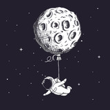 Funny spaceman fly with moon like a balloon - 163347141
