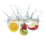 orange strawberry kiwi apple drop with water splash