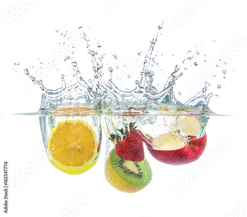 orange strawberry kiwi apple drop with water splash - 163347776