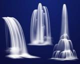 Fototapety Realistic Waterfalls Set