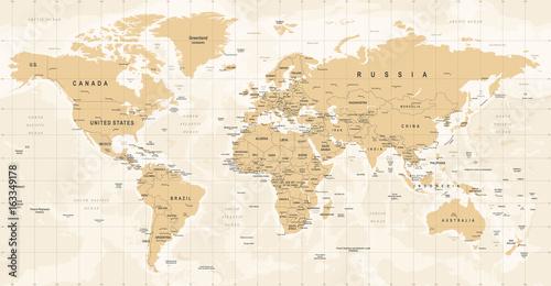 Fototapeta World Map Vintage Vector. Detailed illustration of worldmap