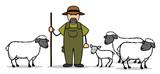 Cartoon Schäfer mit Schafen und Lamm - 163351108
