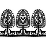Seamless Polish folk art black pattern - 163352901