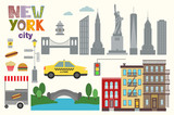 Vector llustration of New York city icon elements  in trendy flat style