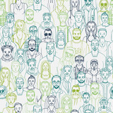 hand drawn crowd seamless vector pattern. People vector background - 163357183