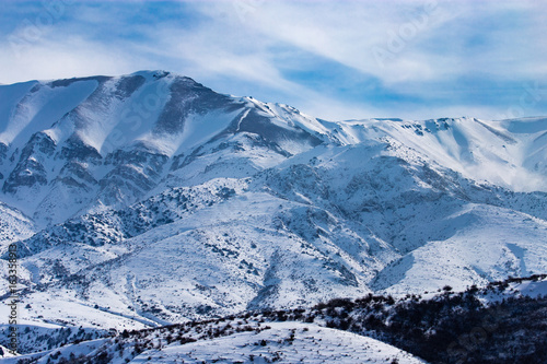 Snowy mountains of Tien Shan in winter