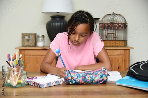 jeune fille faisant ses devoirs à la maison Poster