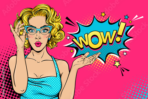 Wow female face. Sexy surprised young woman in glasses with open mouth and blonde curly hair and speech bubble. Vector bright background in pop art retro comic style. Party invitation poster. - 163362129