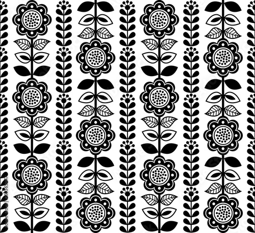 Finnish inspired seamless folk art pattern - black design, Scandinavian, Nordic style - 163365947