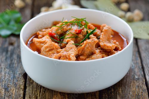 Panang curry with pork .thai food - 163368905
