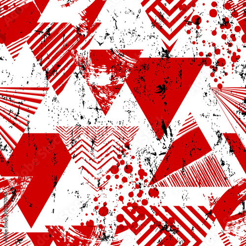 abstract geometric background pattern, with triangles, paint strokes and splashes, seamless,