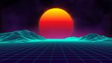 Fototapety Retro background futuristic landscape 1980s style. Digital retro landscape cyber surface. Retro music album cover template : sun, space, mountains . 80s Retro Sci-Fi Background Summer Landscape.