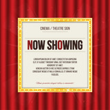 Theater sign or cinema sign on red curtain. Gold retro signboard