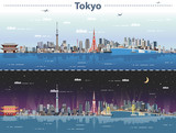 vector illustration of Tokyo at day and night