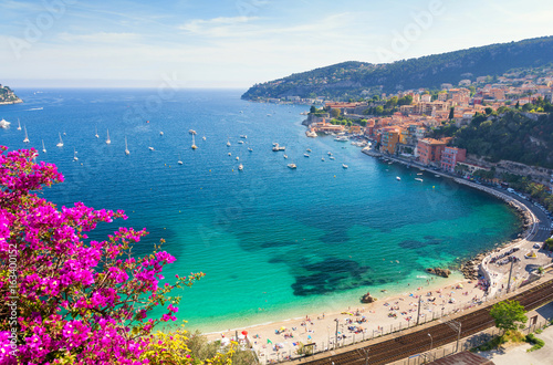 View of luxury resort and bay of Cote d'Azur in France. Poster