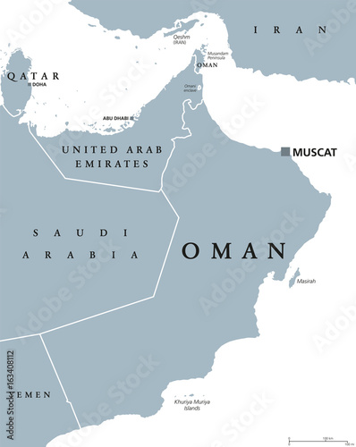 Oman political map with capital Muscat. Sultanate and Arab country in Western Asia and Middle East on the Arabian Peninsula. Gray illustration isolated on white background. English labeling. Vector.