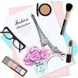 Top view of table with flowers, papers, sketch, eyeglasses and cosmetics. Paper with hand drawn fashion illustration. Hand drawn eiffel tower and flowers. Vector illustration.