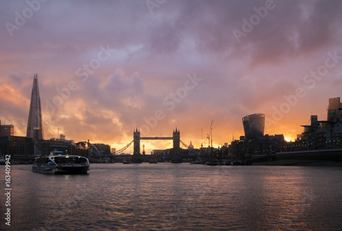 Silhouette of Tower Bridge London at Sunset