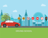 Driving school with car and traffic sign.