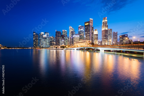 Obraz na plátne Singapore skyline at night