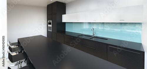 Black and white kitchen. Glass splashback