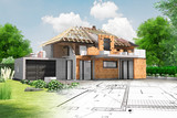 Maison en construction avec charpente apparente