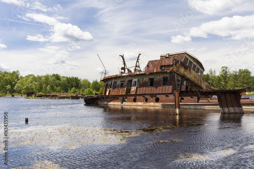 Sunken ship in the harbour of Chernobyl