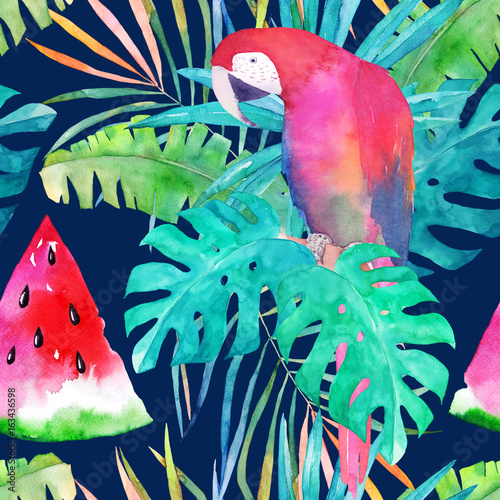 Summer pattern with watercolor parrot, palm leaves and watermelon. Colorful illustration - 163436598