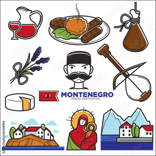 Montenegro culture and landmarks vector icons