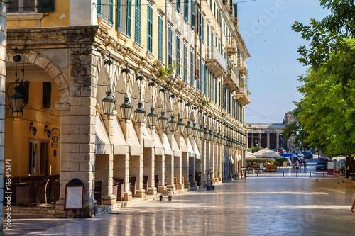 Big tourist street of Corfu city, Greece. Daylight view