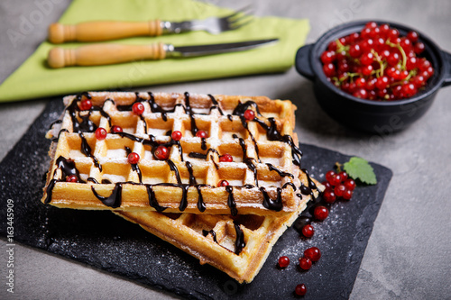 Plate of belgian waffles with chocolate sauce and currant fruit on dark gray background