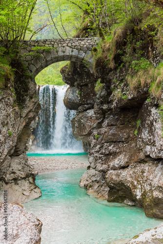 Foto Spatwand Bos rivier Waterfalls. Crystalline water. Mountain creek. Chiusaforte, Friuli