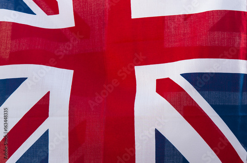 Close-up UK flag background with cloth texture