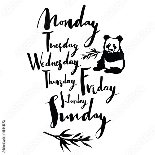 Panda font Days of the week Handwritten calligraphy