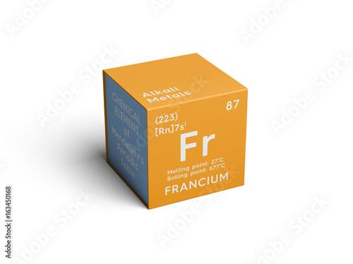 Foto Murales Francium. Alkali metals. Chemical Element of Mendeleev's Periodic Table. Francium in square cube creative concept.