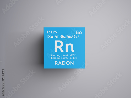 Radon. Noble gases. Chemical Element of Mendeleev's Periodic Table. Radon in square cube creative concept. Photo by Aleksander