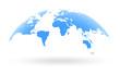 blue world map globe isolated on white background