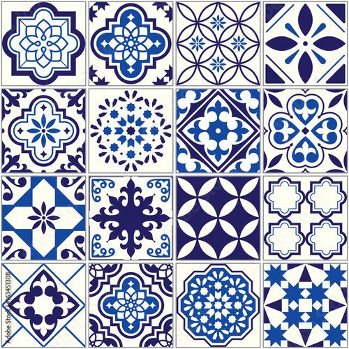 Vector tile pattern, Lisbon floral mosaic, Mediterranean seamless navy blue ornament - 163451308