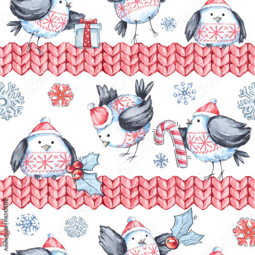 Cotton fabric Watercolor seamless greeting pattern with cute flying birds and knitted borders. New Year. Celebration illustration. Merry Christmas.