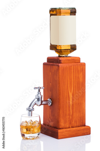Whisky bottle on white background