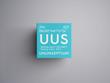 Ununseptium. Halogens. Chemical Element of Mendeleev's Periodic Table. Ununseptium in square cube creative concept.
