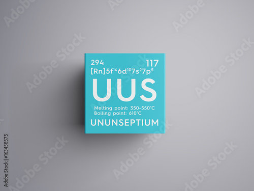 Ununseptium. Halogens. Chemical Element of Mendeleev's Periodic Table. Ununseptium in square cube creative concept. Photo by Aleksander