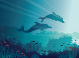 Dolphins, corals, sea. Underwater vector.