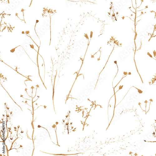 Handwork watercolor seamless pattern of abstract dried flowers, isolated watercolor illustration. Invitation. Wedding card. Birthday card. - 163467797