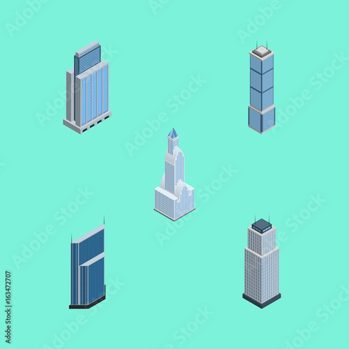 Fotobehang Groene koraal Isometric Construction Set Of Apartment, Cityscape, Residential And Other Vector Objects. Also Includes Skyscraper, Urban, Apartment Elements.