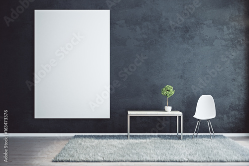 Black interior with empty poster